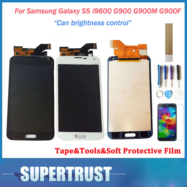 For Samsung Galaxy S5 i9600 G900 G900M <font><b>G900F</b></font> SM-<font><b>G900F</b></font> LCD Display Screen+Touch Screen Digitizer Black White Color with kit image