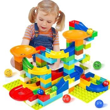 104-208 pces grande tamanho corrida de mármore executar bloco de construção compatível legoingly duploed blocos funil slide tijolos brinquedos para crianças