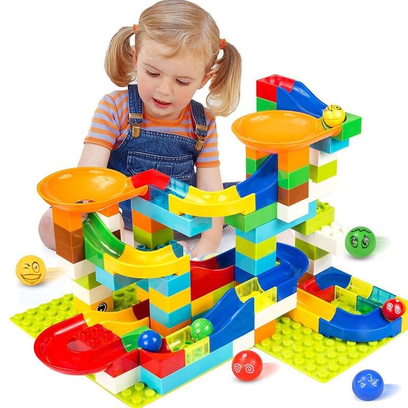 104-208 piezas de mármol carrera laberinto Bola de pista de bloques de construcción de embudo de plástico de gran tamaño ladrillos Compatible Legoingly duplo bloque