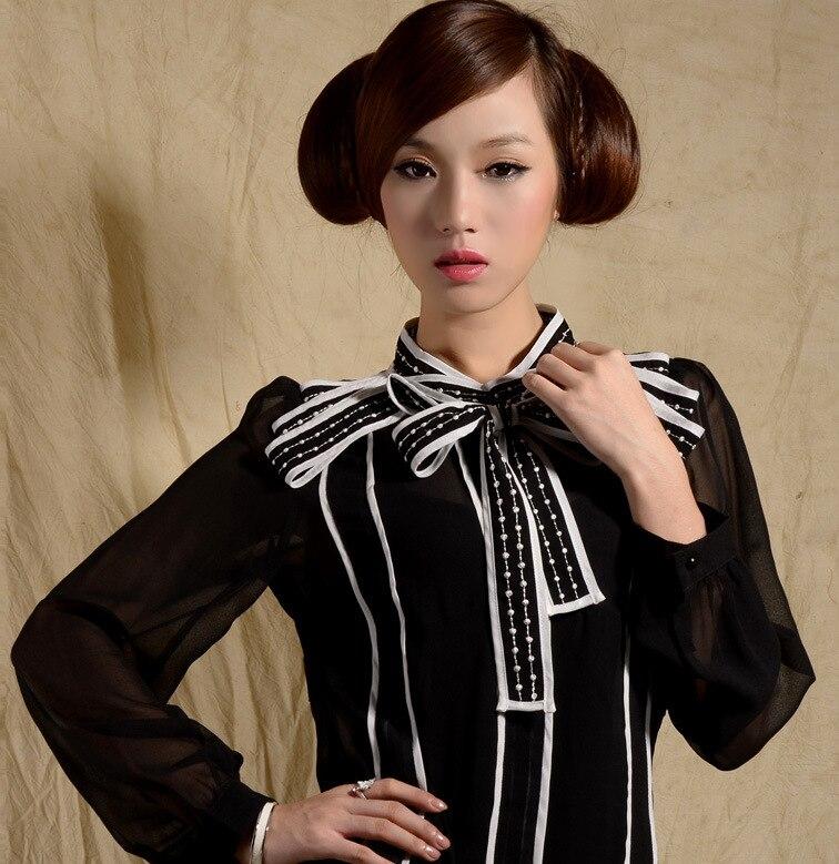 Rayé Chemise De Blanc Femmes Blouse Chemises Bowkn Mode Noir pXqYU4w
