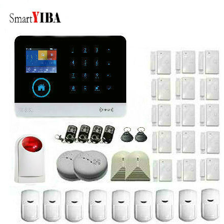 SmartYIBA APP Control WIFI GSM font b Alarm b font System Touch Keyboard Fire Smoke Sensor