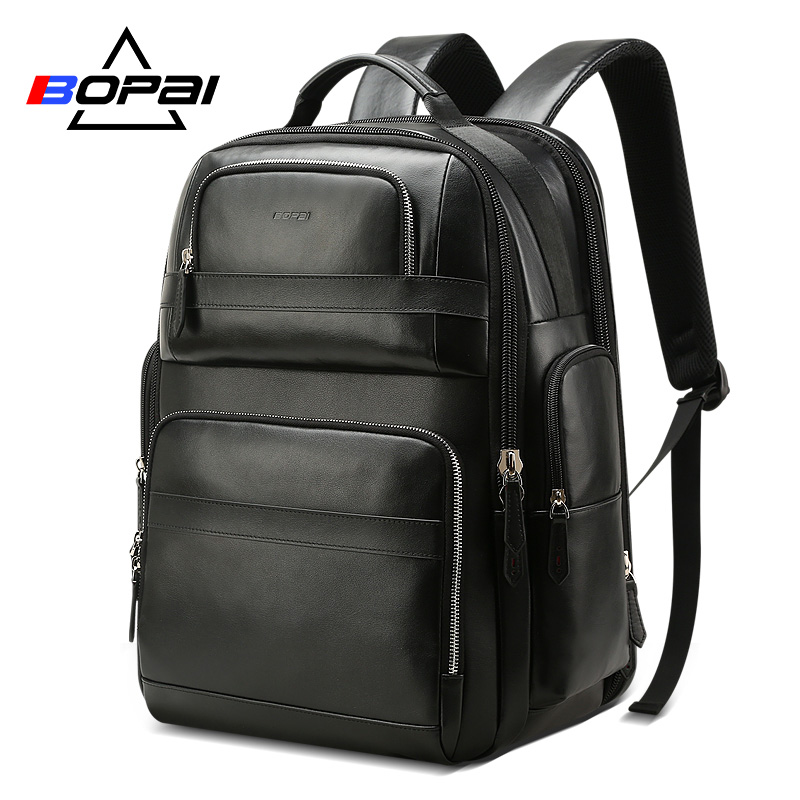 BOPAI Luxury Genuine Leather Backpack for Men Women Travel Black Bagpack Top Layer Cow Leather Men