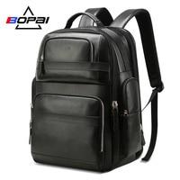 BOPAI роскошный рюкзак из натуральной кожи для мужчин женщин Путешествия Черный Bagpack верхний слой корова кожа для мужчин бизнес ноутбук рюкза
