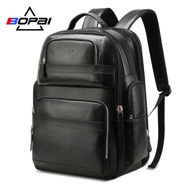 Mochila De Cuero genuino de lujo BOPAI para hombres y mujeres, mochila de viaje negra, mochila de cuero de vaca para hombres, mochilas para ordenador portátil de negocios