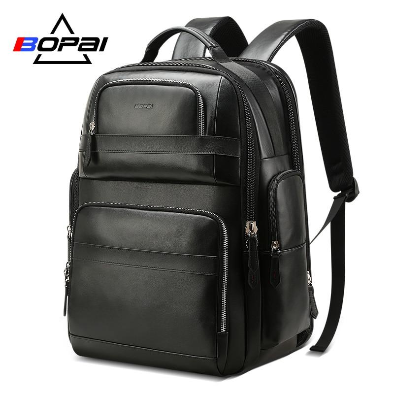 Mochila De Cuero genuino de lujo BOPAI para hombres y mujeres, mochila negra de viaje, Mochila de cuero de vaca, mochilas para ordenador portátil de negocios para hombres