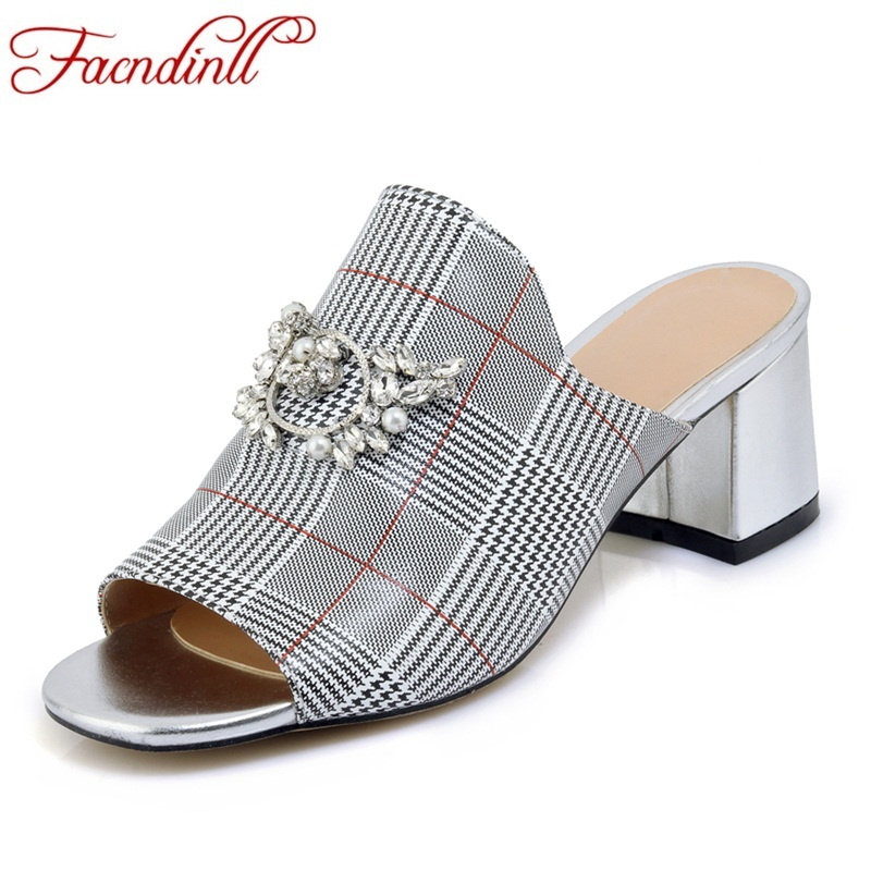 FACNDINLL women shoes new 2018 summer fashion genuine leather high heels peep toe black shoes woman dress party casual sandals facndinll new genuine leather summer