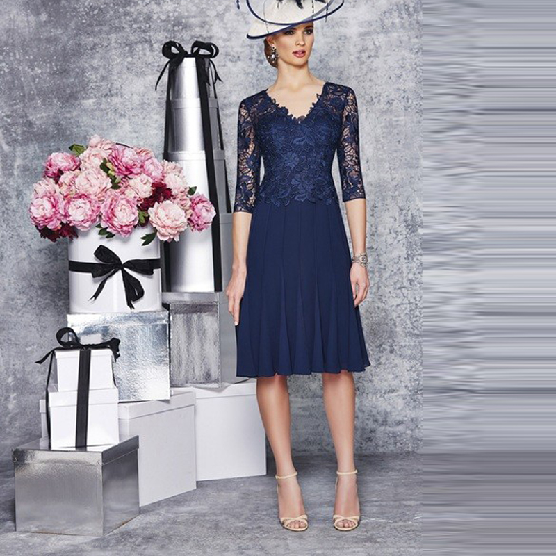Navy blue mother of the bride dress half sleeve lace for Wedding guest lace dresses