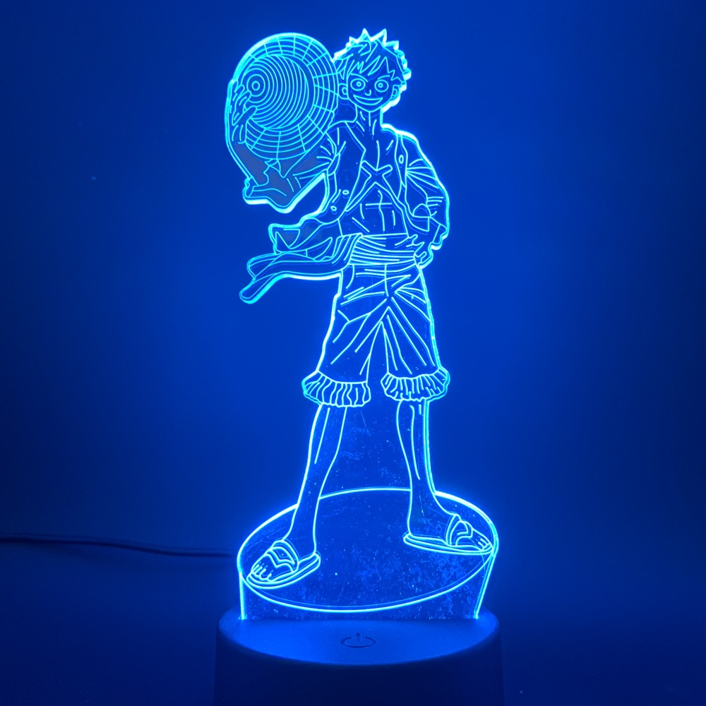 Japanese Anime One Piece Monkey D Luffy Action Figure 3d Led Night Light for Kids Bedroom Decor Child Birthday Gift Nightlight in LED Night Lights from Lights Lighting