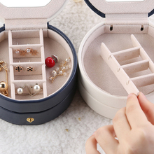 Three-layer Portable Travel Jewelry Box Three Layers Jewellery Organizer Storage Case with Mirror for Ring Ear Stud Necklace