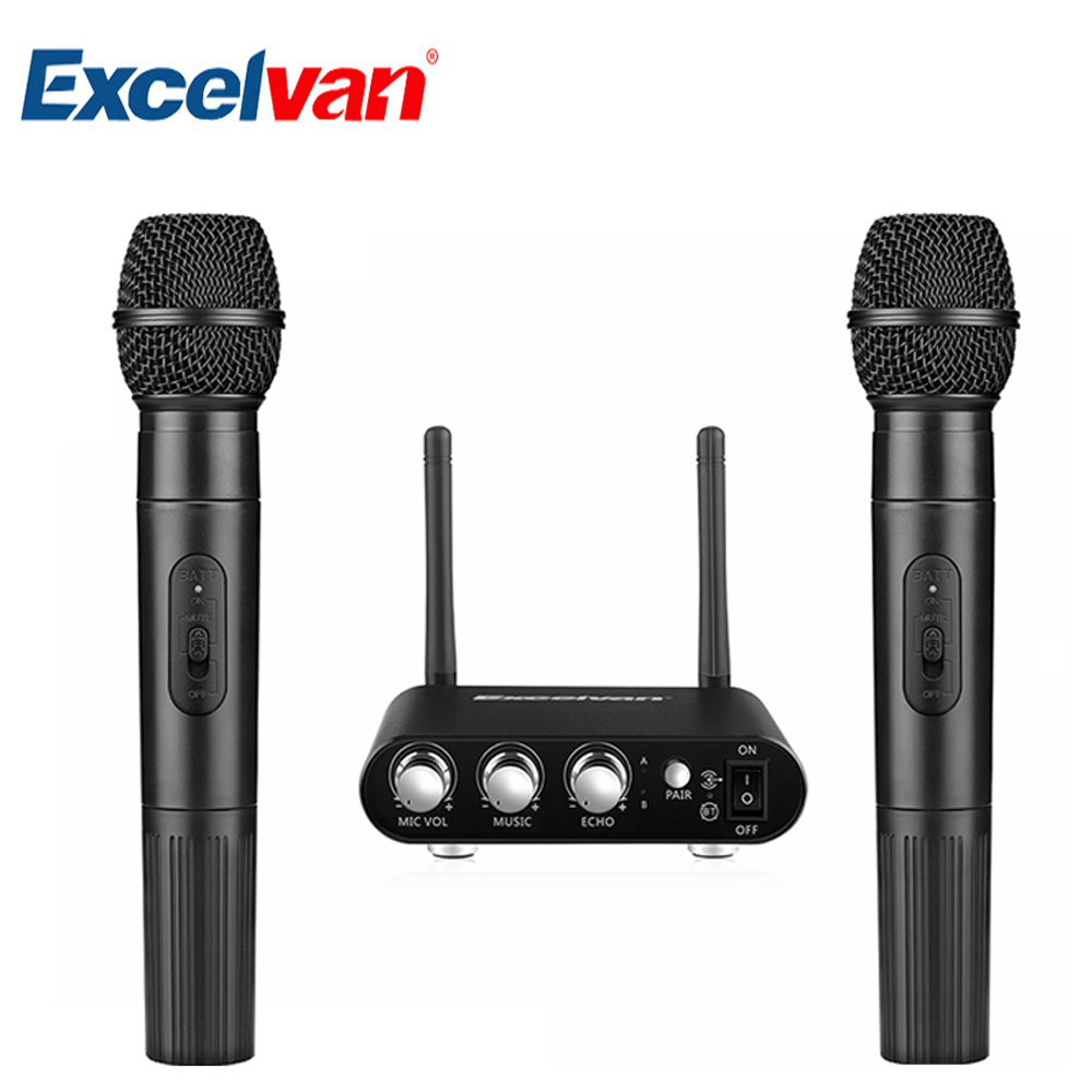 Excelvan K38 Dual Wireless Microphones with Receiver Box Various Frequency High-end MicrophonFor Home Entertainment Conference excelvan k38 dual wireless microphones with receiver box various frequency high end microphonfor home entertainment conference