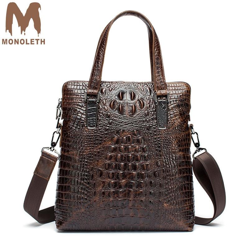 MONOLETH Genuine Leather Men Briefcase bag crocodile pattern men's handbag business casual men's shoulder bag Messenger bag gigi лосьон пилинг отбеливающий 50 мл