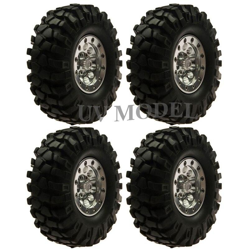 4Pcs/lot 1.9inch 96mm Rubber Tires Aluminum Alloy Metal Bead Lock Wheel Rim for RC Rock Crawlers Climbing Cars #7