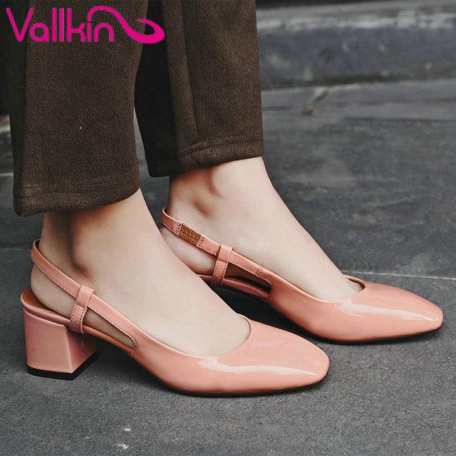 Spuper vallkin 2017 slingbacks bombas mulher de salto alto mulheres sapatos de casamento do dedo do pé quadrado de couro real namoro perder sapatos tamanho 34-39