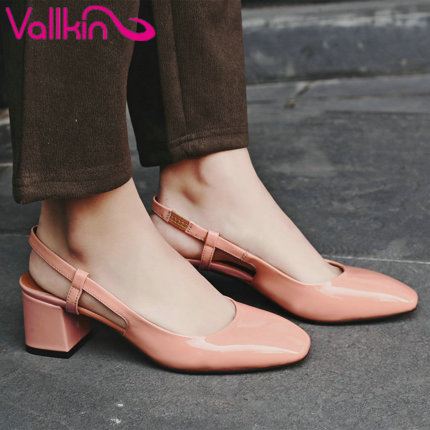 VALLKIN 2017 Slingbacks Spuper High Heel Woman Pumps Real Leather Wedding Women Shoes Square Toe Dating