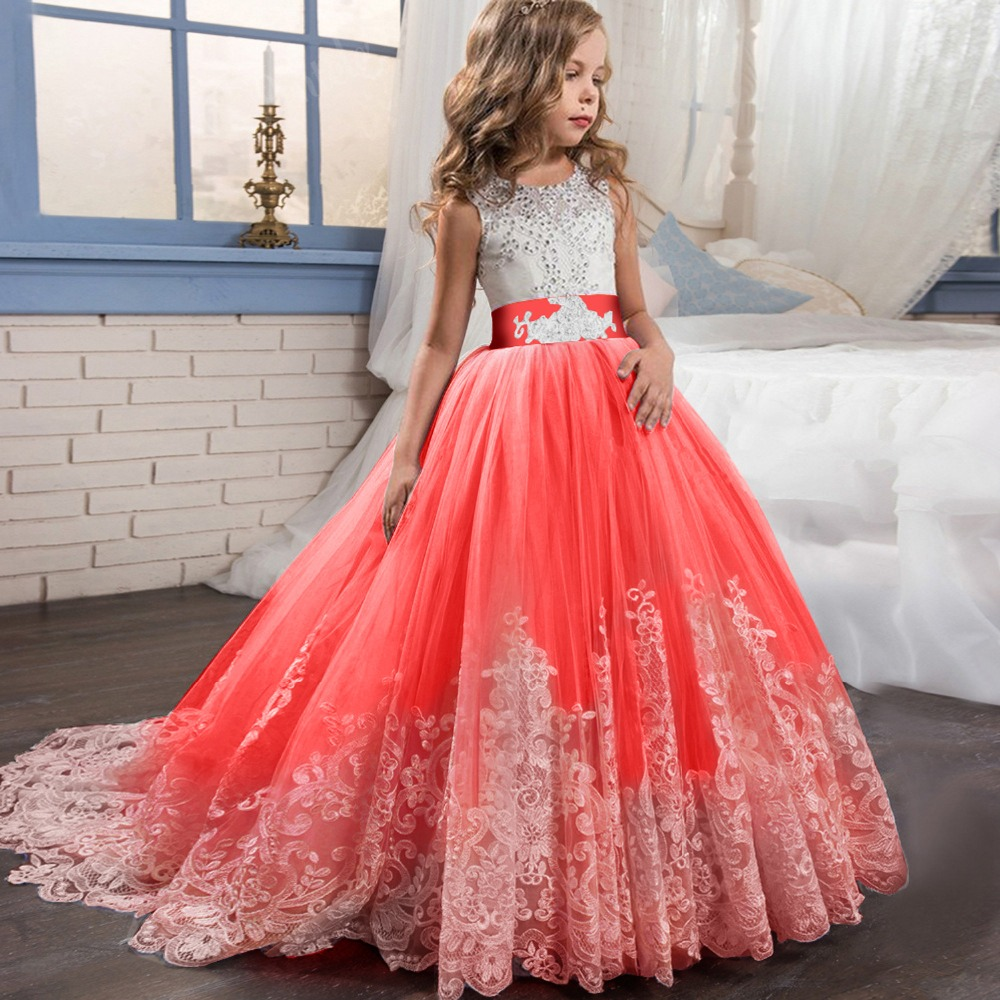 2fa99fee79 US $26.26 29% OFF|Hot Embroidery Floral Dress for Children Princess Formal  Dresses Flower Kids Wedding Evening Prom Gown Girls Xmas Party Clothing-in  ...