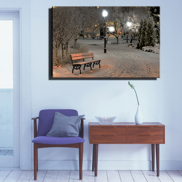Lighted Pictures Wall Decor canvas wall art with led lighted up christmas winter print park