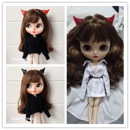 4pcs 1/6 Bjd Doll Cute Little Devil HairPins Fashion Blyth Doll Hairclips For Pullip BJD Clothes Accessories For Barbie Doll