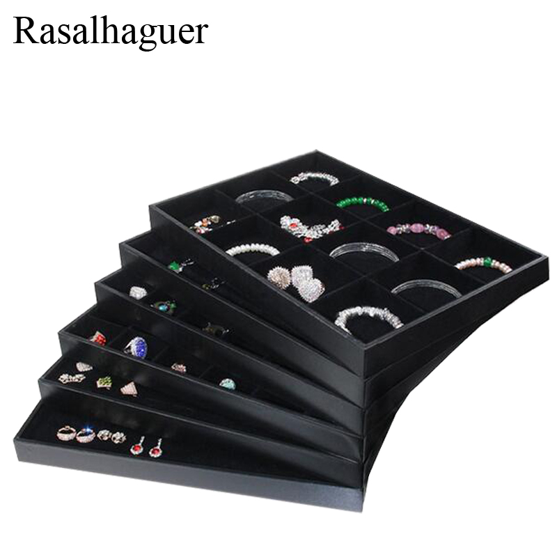 Hot Selling PU Frame Velvet Jewelry Organizer Jewellery Display Ring Box Necklace Earring Holder Various Models For Option