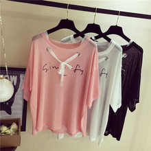 2017 Summer New Round Neck Drawstring Women Letter Printed T Shirts Casual Wind Belt Decoration 3 Colors Short-Sleeved t-shirts