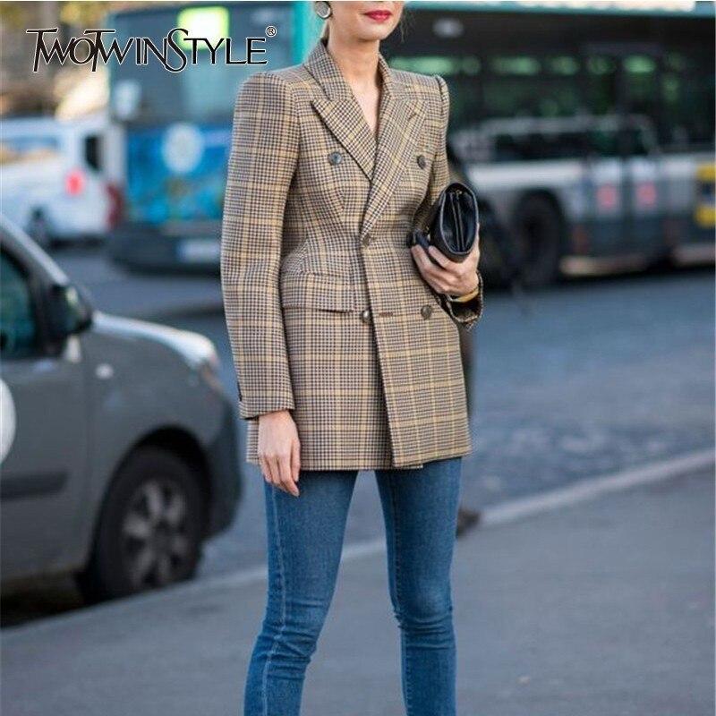 TWOTWINSTYLE Vintage Wool Blazer Coat Women Lapel Long Sleeve Plaid Women's Suits Fashion Clothes Spring Autumn 2019 Large Sizes