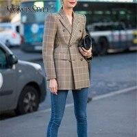TWOTWINSTYLE Vintage Wool Blazer Coat Women Lapel Long Sleeve Plaid Women's Suits Fashion Clothes Spring Autumn 2018 Large Sizes