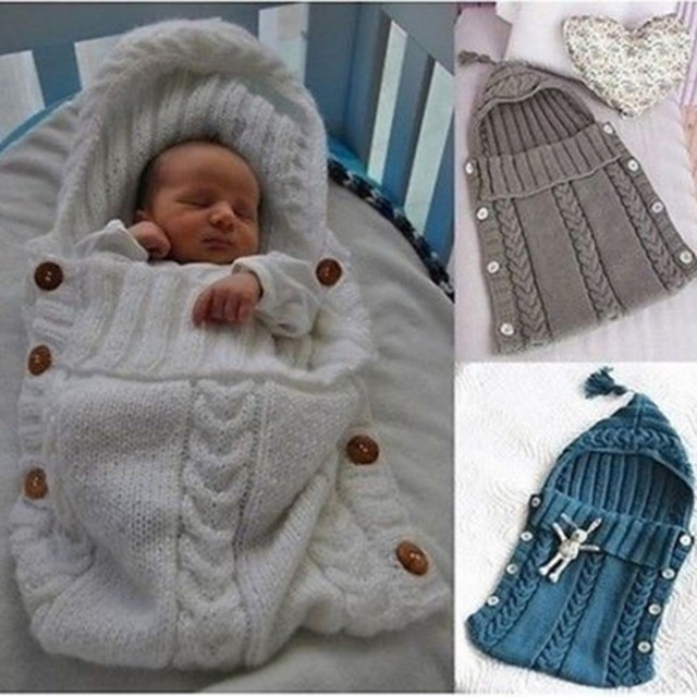 0a230e24b2 Bebé Swaddle Wrap lana caliente ganchillo tejido recién nacido saco de dormir  Bebé swadding manta dormir