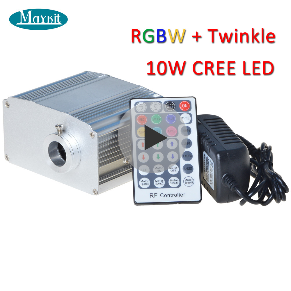 Maykit 10W CREE Optic Fiber RGBW Twinkle LED Star Ceiling Light Kit 250pcs 3m 0 75mm