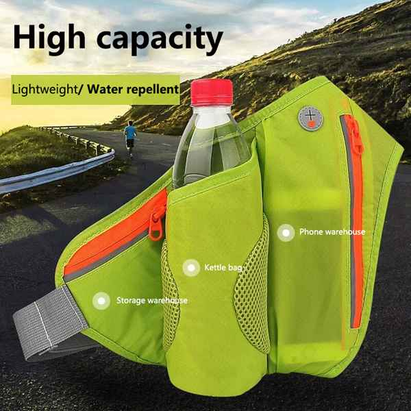 Running Belt Hydration Waist Pack with Water Bottle Holder for Men Women Waist Pouch Fanny Bag Reflective Fits 4-6 inch mobile