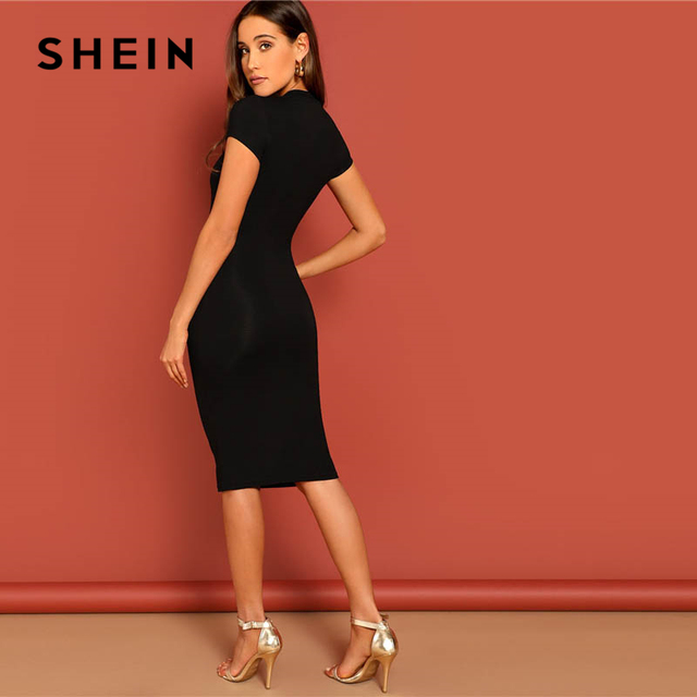 SHEIN Black Stand Collar Solid Natural Waist Stretchy Bodycon Dress Women Summer Elegant Short Sleeve Slim Fitted Pencil Dresses 2