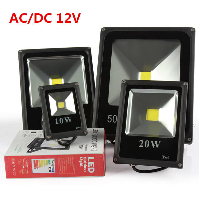 DHL free shipping led Flood Light 10W 20W 30W 50W 12V 24V DC Waterproof IP65 Floodlight Spotlight Outdoor Lighting 10pcs/lot