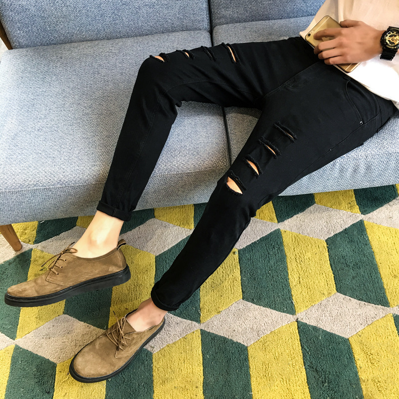 Jeans Knee Holes Bound Feet Pants Cowboy Mens Black Mens Classic Jeans Straight Full Length Casual Stretch Slim Fit Jeans