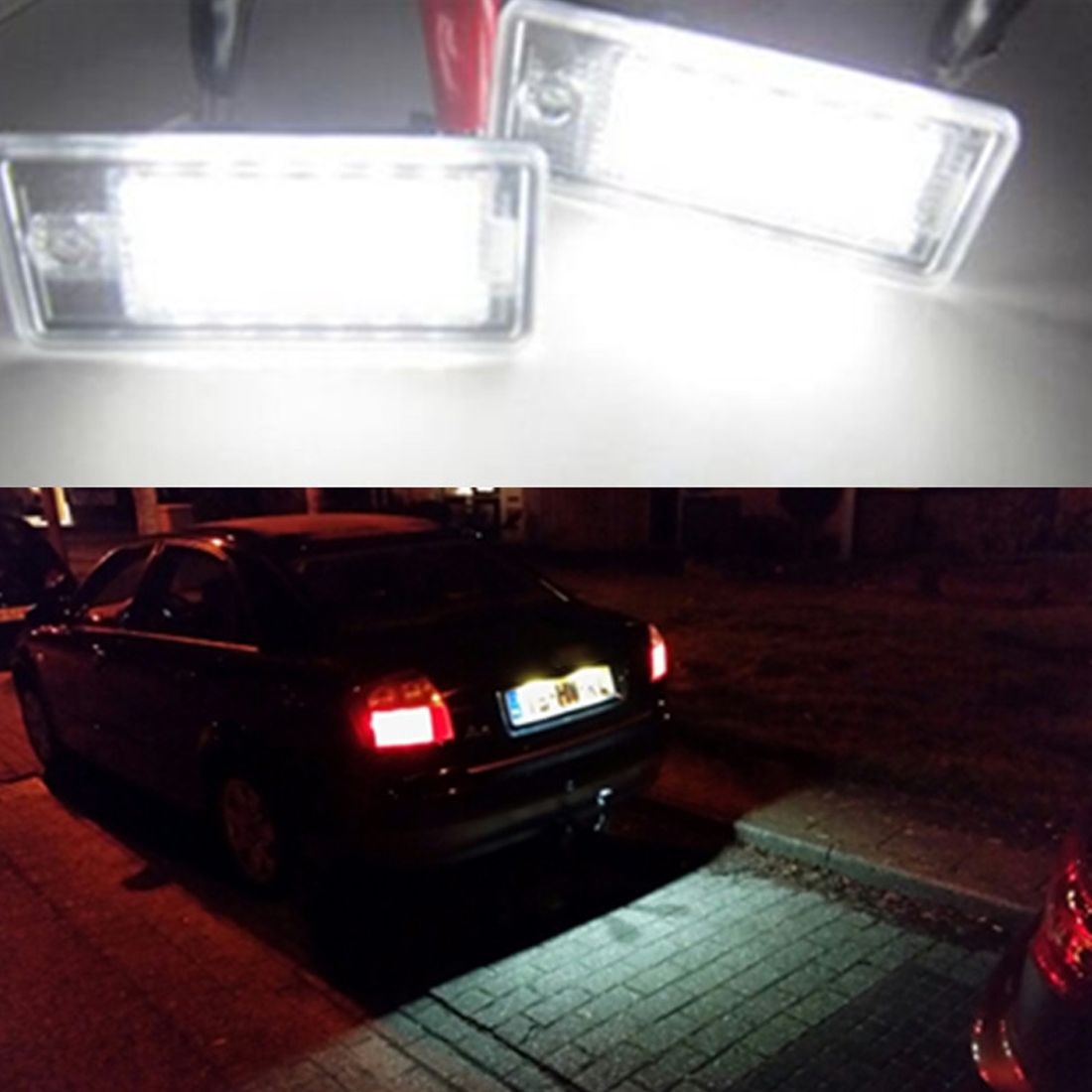 Tonewan New Arrival 2pcs White 18 LED License Number Plate Light Lamp For Audi A3 S3 A4 S4 B6 A6 S6 A8 S8 Q7 2pcs car led license plate lights 12v white smd3528 led number plate lamp bulb kit for ford focus c max 03 07