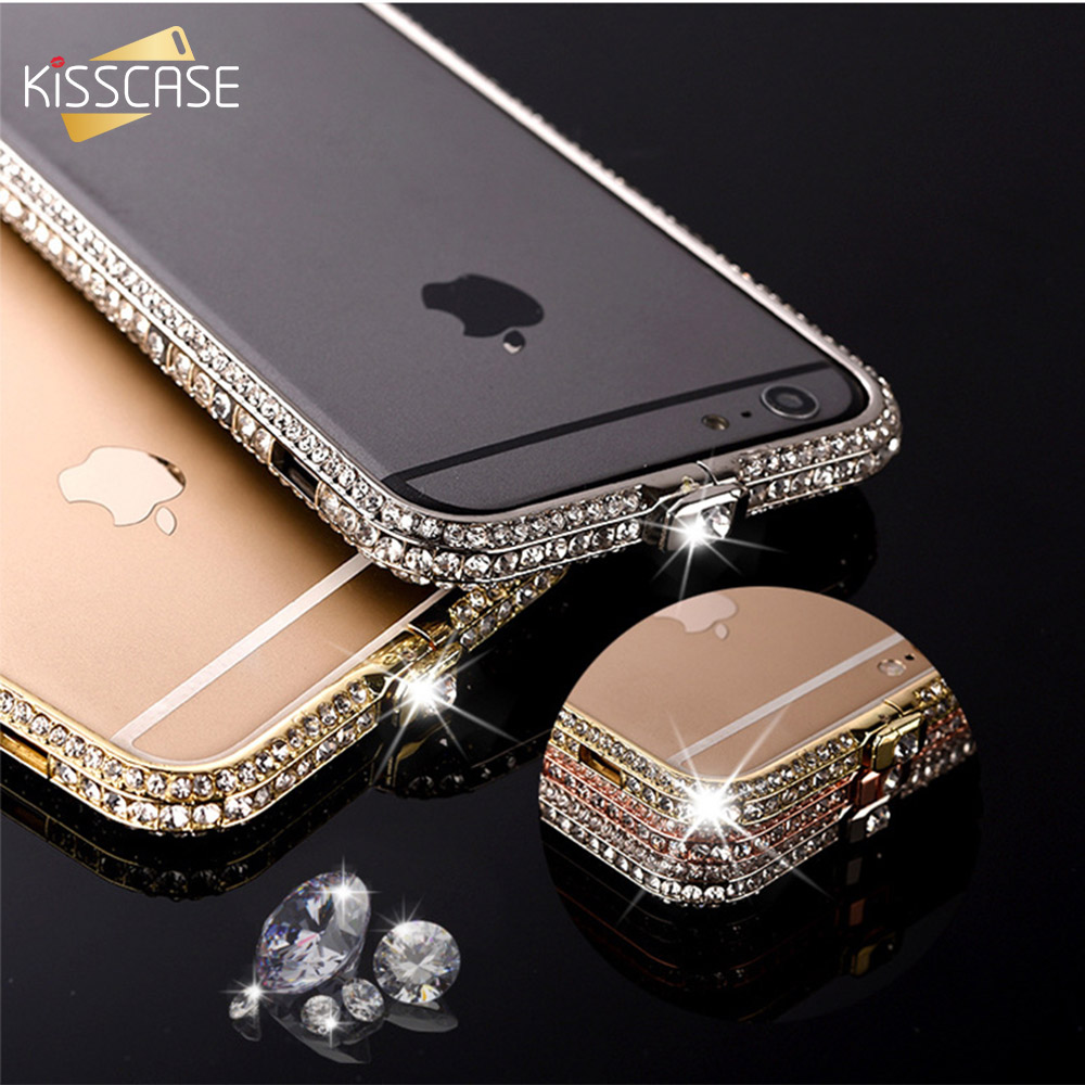 KISSCASE Glitter Case For iPhone 6 6s 7 Plus Cases Diamond Bumper For iPhone 7 6s 6 Plus Cover Luxury Aluminum Frame Coque Shell