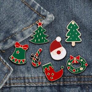 Забавная Рождественская елка сапоги Санта Клаус Jingle брошь колокольчик мультфильм эмаль шпильки для женщин зимние нагрудные значки ювелирн...