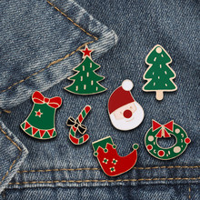 Cartoon Christmas Tree Boots Santa Claus Jingle Bell Brooch Winter Enamel Pins Women Jackets Lapel Pin Badges Kids Jewelry Gifts(China)