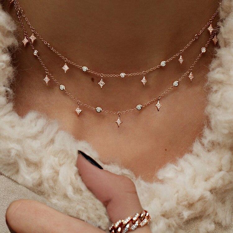 Богемное многослойное ожерелье с кулоном из кристаллов для женщин, золотые модные многослойные ожерелья и кулоны, ювелирные изделия - Окраска металла: NE-0205-19
