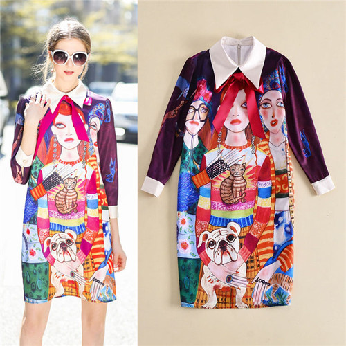 unice European branded 2018 spring fashion turn-down collar three quarter sleeve dress womens portrait cat dogs print dresses