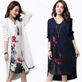 Long Maxi Dress Women Spring 2017 Long Sleeve Cotton Linen Plus Size Print Vestidos Dresses Loose Casual T-shirt Dress