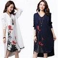 Plus Size Dress Casual algodón de manga larga vestido Maxi largos flores imprimir vestidos verano 2016 blanco fauna vestido recto