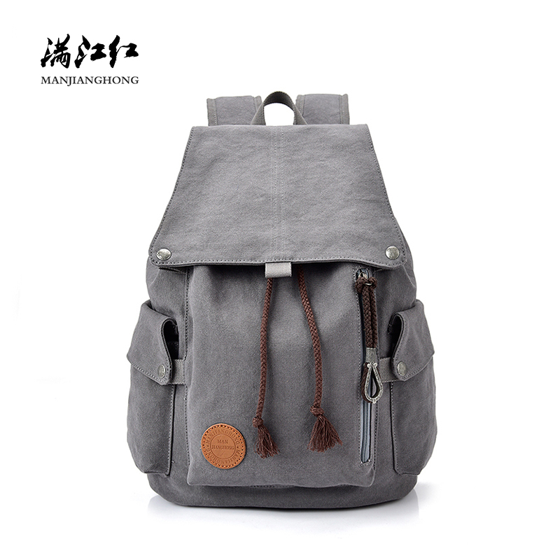 Fashion Women 15 Inch Laptop Backpack Drawstring Large Casual Canvas Travel Backpack Men Leisure School Bags