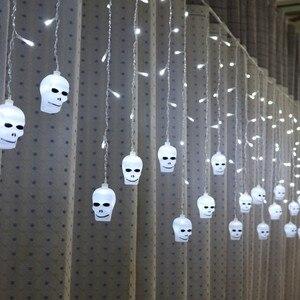 Image 3 - LYFS 3.5M 96 LED Halloween Curtain Light Strings Skull Style Holiday Lighting Bedroom Living Room Halloween Atmosphere Decor