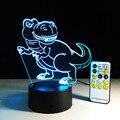Interruptor Táctil Luz del Escritorio de la novedad Luz Colorida de La Noche del USB LED Lámpara de Mesa de acrílico Ilusión 3D Dinosaurio Para la Decoración Casera