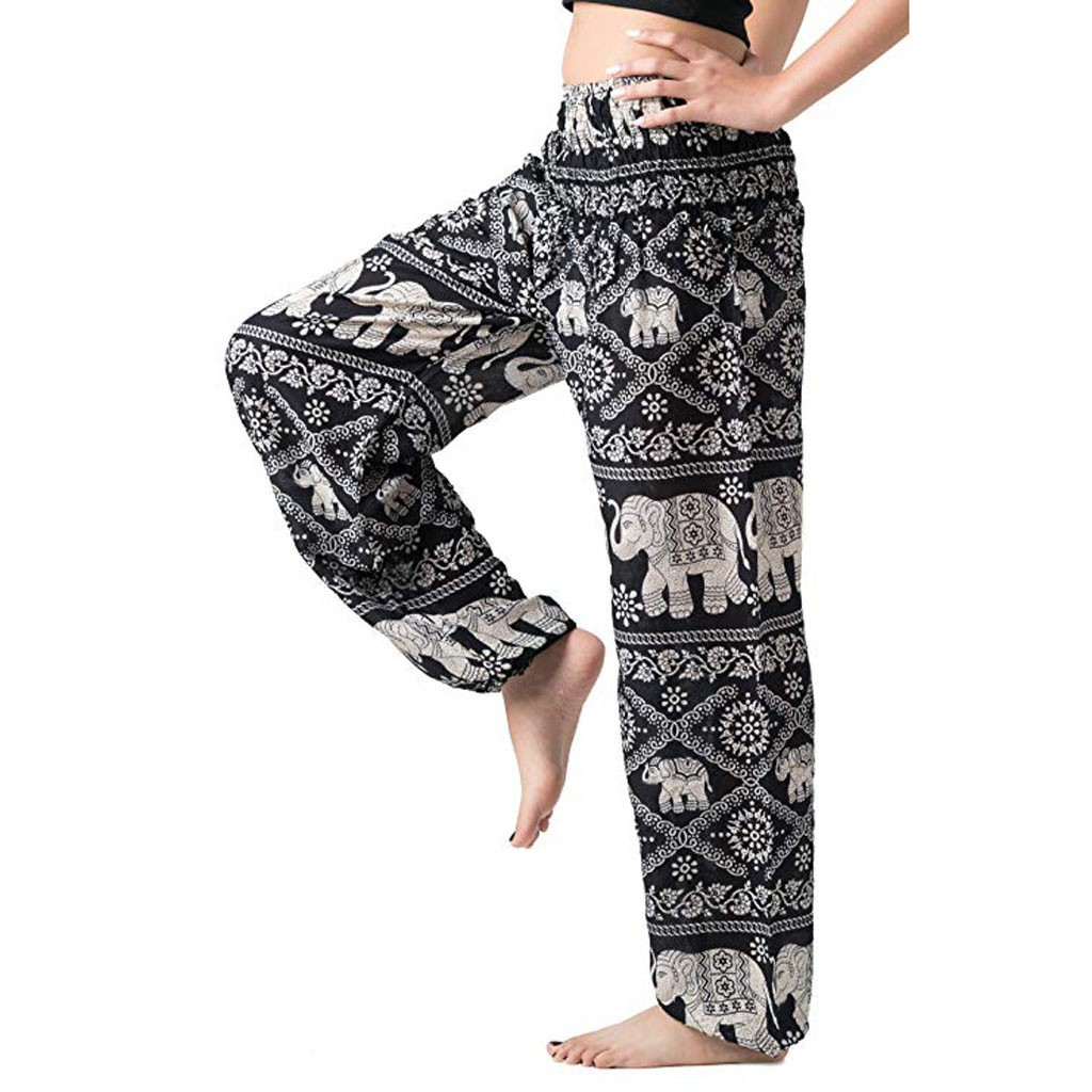 2019 Women's   Pants   Loose Bohemian Boho Casual   Wide     Leg     Pants   Female Summer Hippie   Pants   Smocked Waist Trousers Long Sweatpants