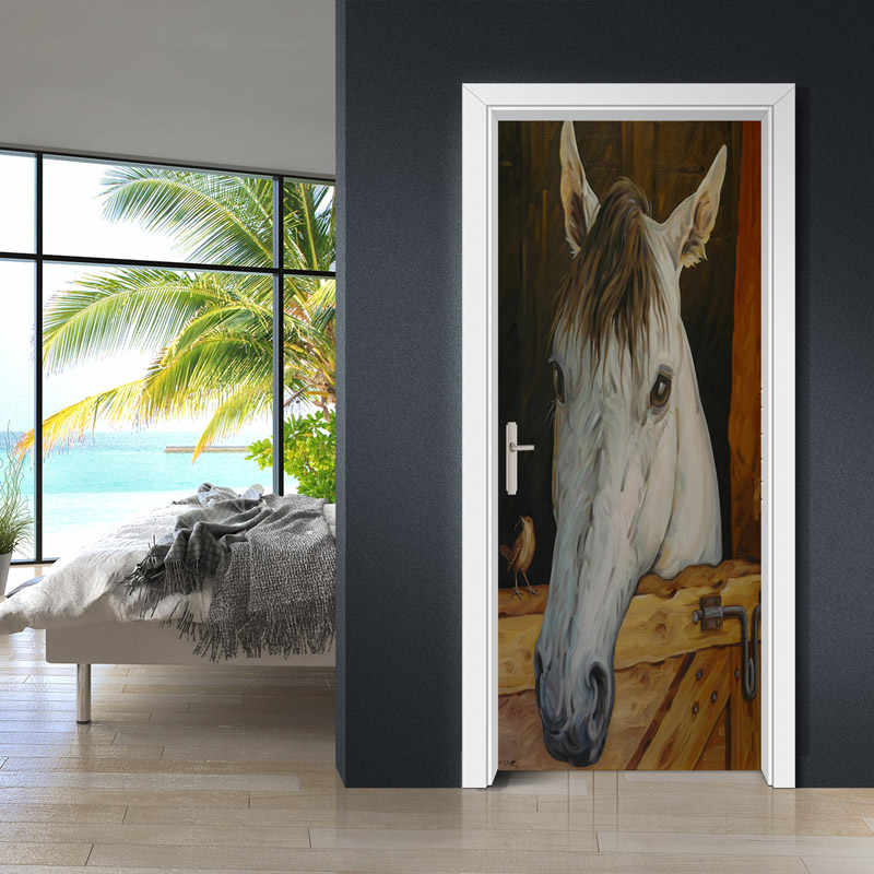 ديكور المنزل الباب خلفيات المشارك 3D الرجعية الحصان مستقرة الصورة الجداريات للماء الذاتي لاصق الفينيل PVC الباب ملصقات 77x200 سنتيمتر