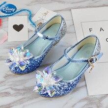 Girls crystal shoes 2019 new Princess high heels glass children  purple student 26-37