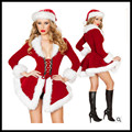 Sexy Costumes Women Dress Christmas Santa Claus Costumes Fashion Slim Fit Bandage Waist Fur Collar Jacket Christmas Hat Winter
