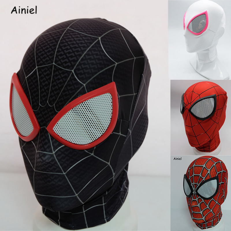 Spider Man Mask faceshell Miles Morales Mask Peter Parker Mask Cosplay Costumes Halloween Superhero Spiderman Mask Adults Kids