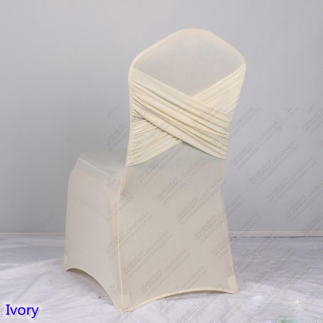 ivory chair covers spandex metal porch chairs vintage colour universal lycra two cross swag back cover luxury wedding party decoration on sale