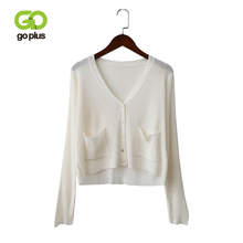 GOPLUS Summer Cardigan Women Solid 5 Colors Thin V-Neck Long Sleeve Pockets Mujer Knitted Sweater Chompas Para