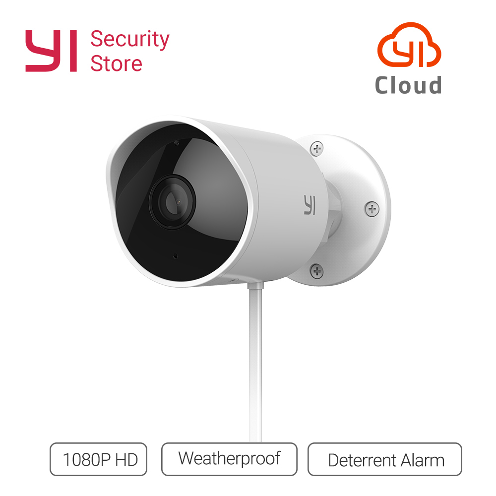 YI Outdoor Waterproof Security Camera 1080p Wireless IP resolution Night  Vision Security Surveillance System Cloud Cam CCTV WiFi